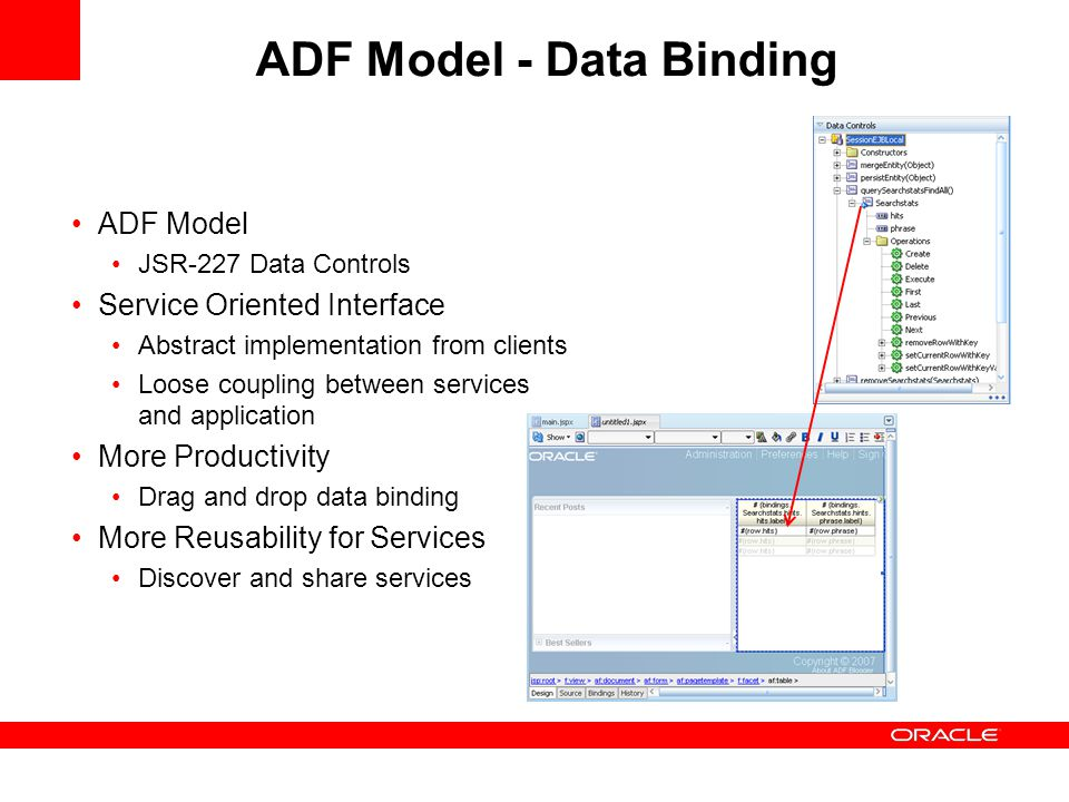 ADF Model JSR-227 Data Controls Service Oriented Interface Abstract implementation from clients Loose coupling between services and application More Productivity Drag and drop data binding More Reusability for Services Discover and share services ADF Model - Data Binding