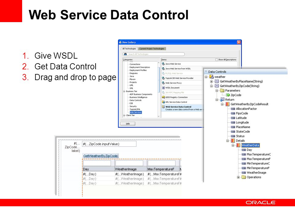 Web Service Data Control 1.Give WSDL 2.Get Data Control 3.Drag and drop to page