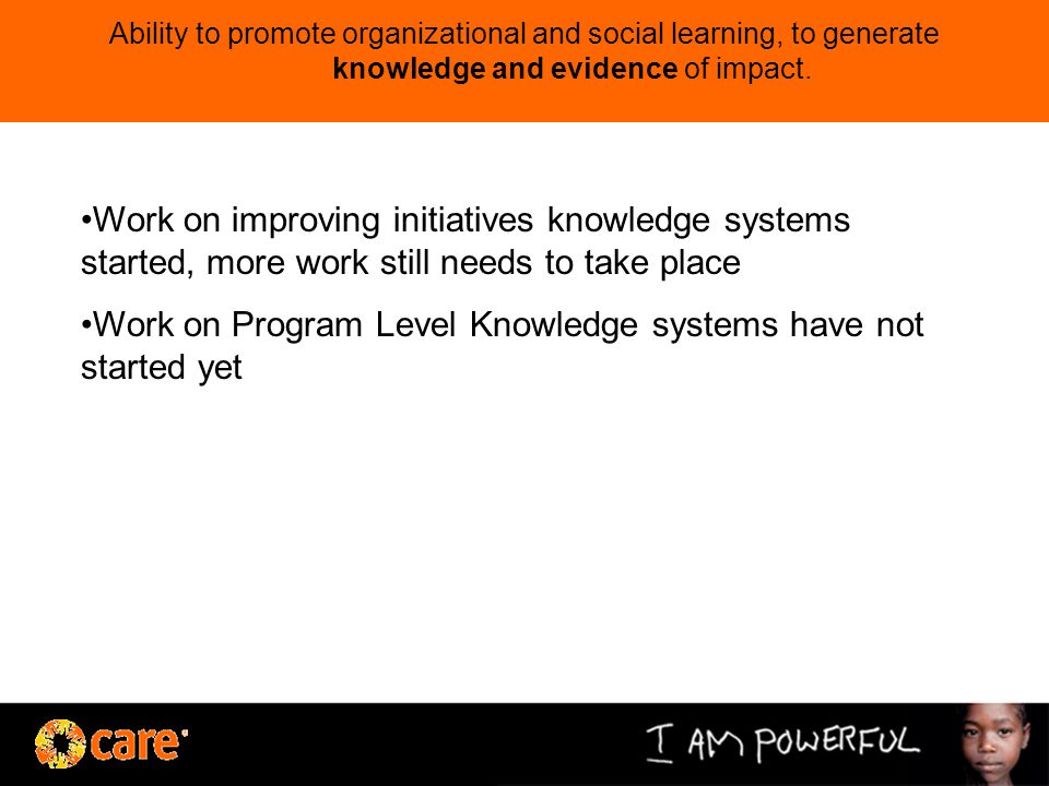Ability to promote organizational and social learning, to generate knowledge and evidence of impact.