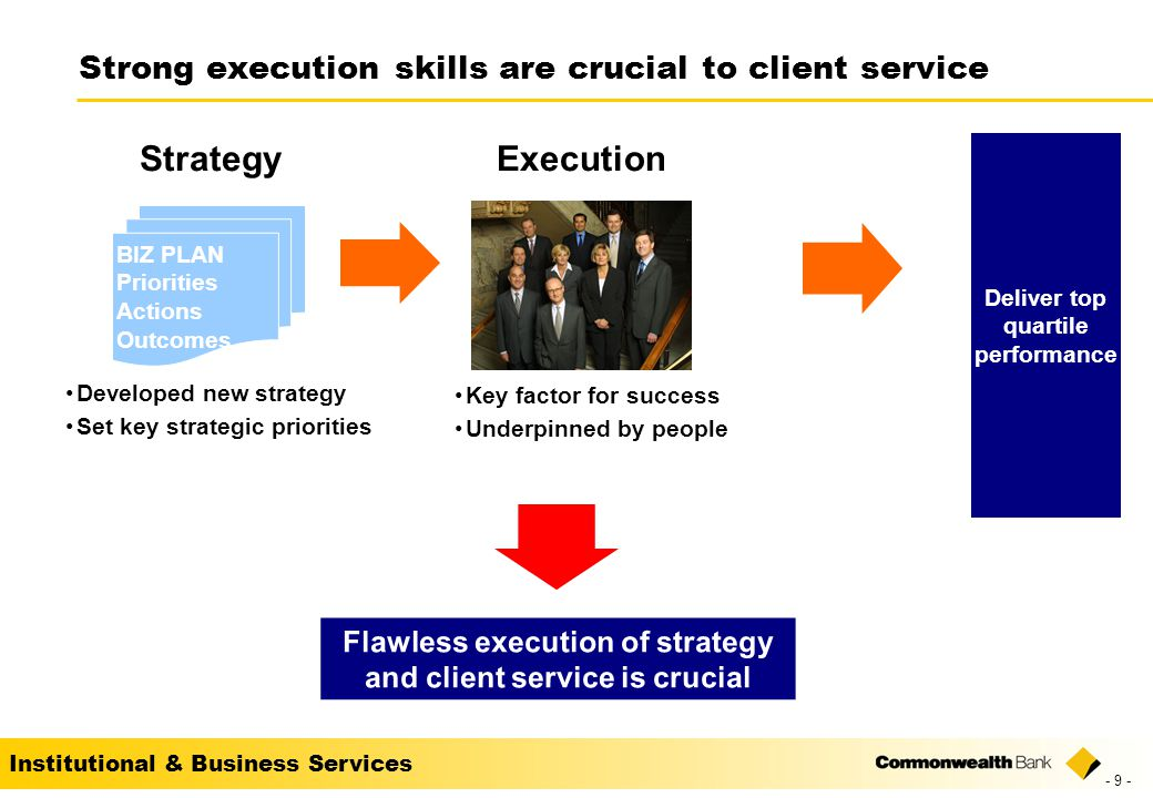 Institutional & Business Services Strong execution skills are crucial to client service BIZ PLAN Priorities Actions Outcomes Developed new strategy Set key strategic priorities Strategy Key factor for success Underpinned by people Execution Flawless execution of strategy and client service is crucial Deliver top quartile performance