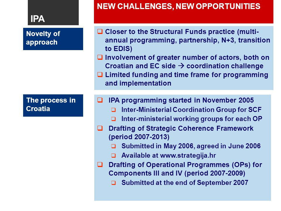 NEW CHALLENGES, NEW OPPORTUNITIES The process in Croatia  IPA programming started in November 2005 IPA programming started in November 2005  Inter-Ministerial Coordination Group for SCF Inter-Ministerial Coordination Group for SCF  Inter-ministerial working groups for each OP Inter-ministerial working groups for each OP  Drafting of Strategic Coherence Framework (period ) Drafting of Strategic Coherence Framework (period )  Submitted in May 2006, agreed in June 2006 Submitted in May 2006, agreed in June 2006  Available at   Available at    Drafting of Operational Programmes (OPs) for Components III and IV (period ) Drafting of Operational Programmes (OPs) for Components III and IV (period )  Submitted at the end of September 2007 Submitted at the end of September 2007 Novelty of approach  Closer to the Structural Funds practice (multi- annual programming, partnership, N+3, transition to EDIS) Closer to the Structural Funds practice (multi- annual programming, partnership, N+3, transition to EDIS)  Involvement of greater number of actors, both on Croatian and EC side  coordination challenge Involvement of greater number of actors, both on Croatian and EC side  coordination challenge  Limited funding and time frame for programming and implementation Limited funding and time frame for programming and implementation IPA