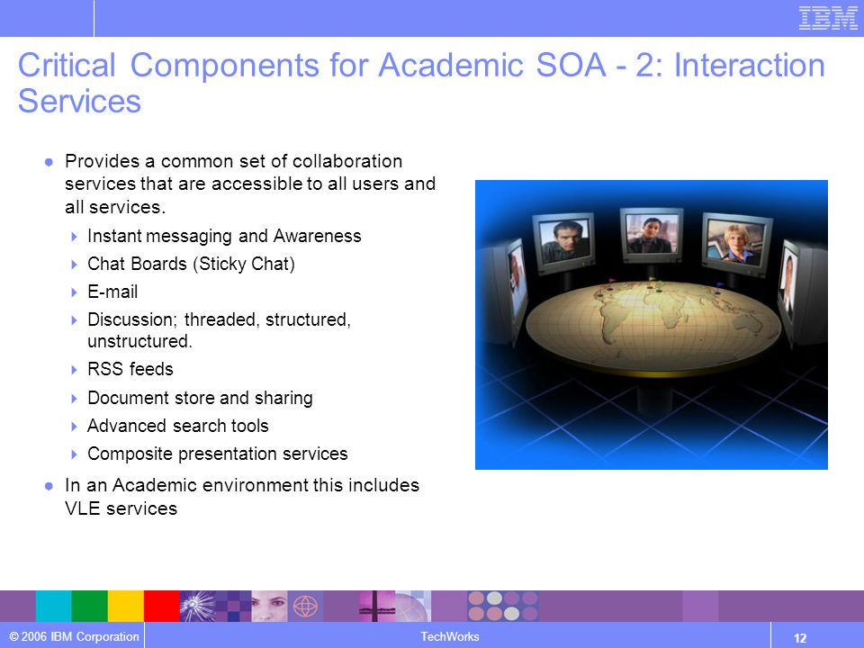 © 2006 IBM Corporation TechWorks 12 Critical Components for Academic SOA - 2: Interaction Services ●Provides a common set of collaboration services that are accessible to all users and all services.