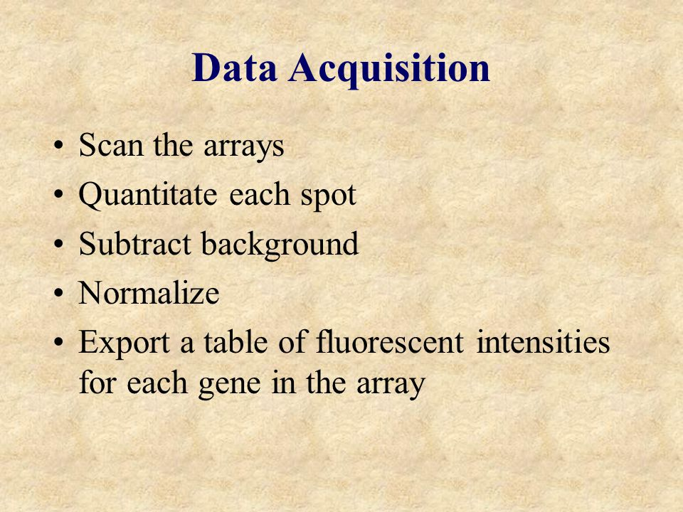 Data Acquisition Scan the arrays Quantitate each spot Subtract background Normalize Export a table of fluorescent intensities for each gene in the array
