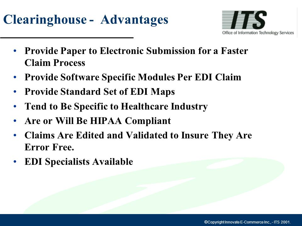 Copyright Innovate E-Commerce Inc , - ITS Electronic Data