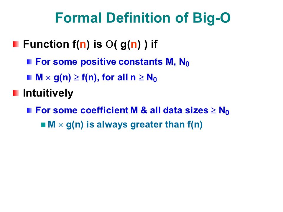 Formal Definition of Big-O Function f(n) is  ( g(n) ) if For some positive constants M, N 0 M  g(n)  f(n), for all n  N 0 Intuitively For some coefficient M & all data sizes  N 0 M  g(n) is always greater than f(n)