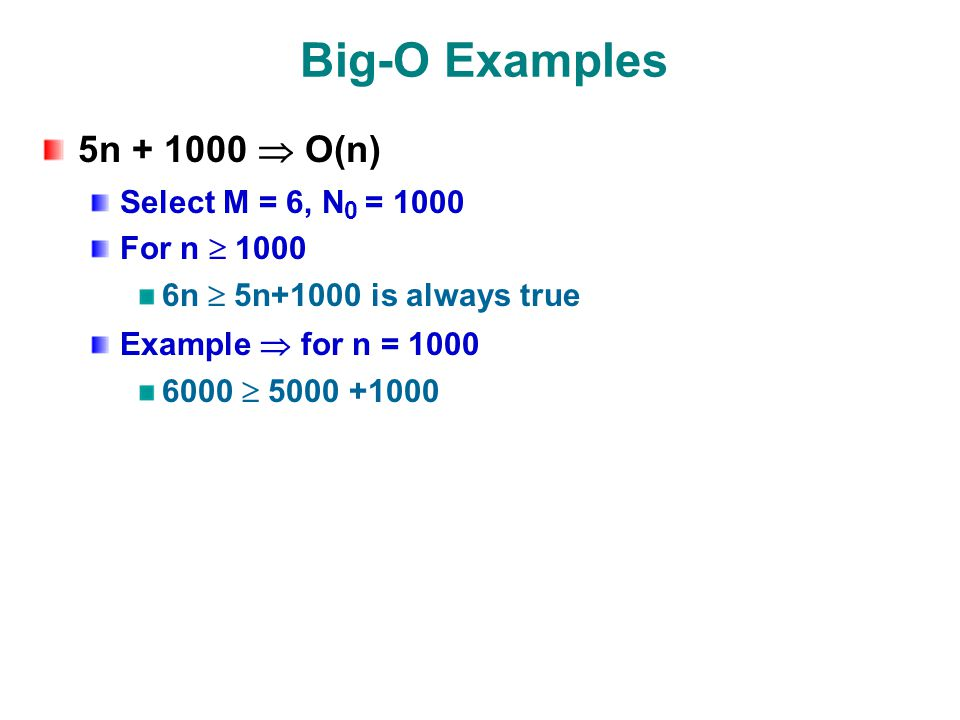 Big-O Examples 5n  O(n) Select M = 6, N 0 = 1000 For n  n  5n+1000 is always true Example  for n = 