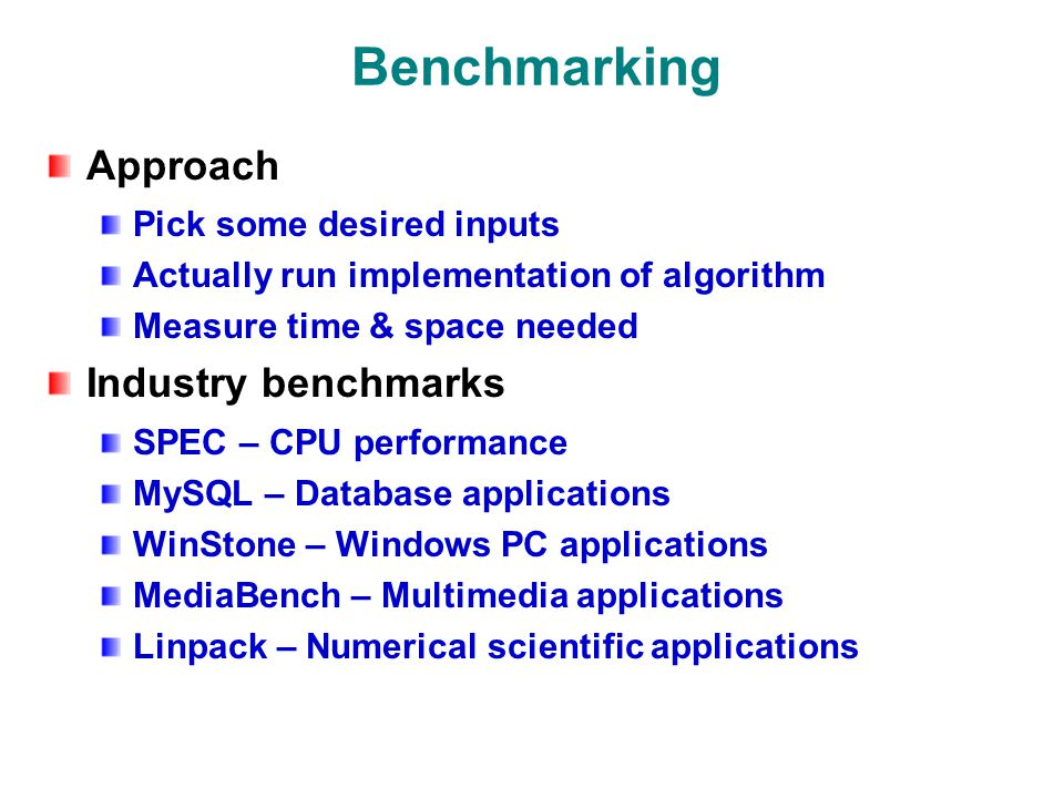 Benchmarking Approach Pick some desired inputs Actually run implementation of algorithm Measure time & space needed Industry benchmarks SPEC – CPU performance MySQL – Database applications WinStone – Windows PC applications MediaBench – Multimedia applications Linpack – Numerical scientific applications