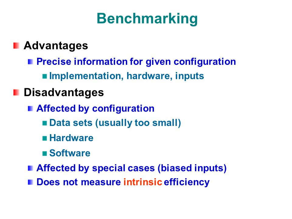 Benchmarking Advantages Precise information for given configuration Implementation, hardware, inputs Disadvantages Affected by configuration Data sets (usually too small) Hardware Software Affected by special cases (biased inputs) Does not measure intrinsic efficiency