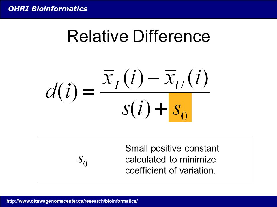 OHRI Bioinformatics Relative Difference Small positive constant calculated to minimize coefficient of variation.