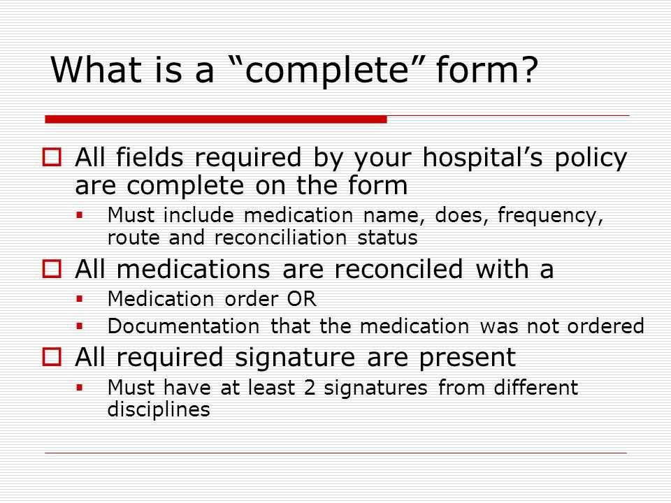 What is a complete form.