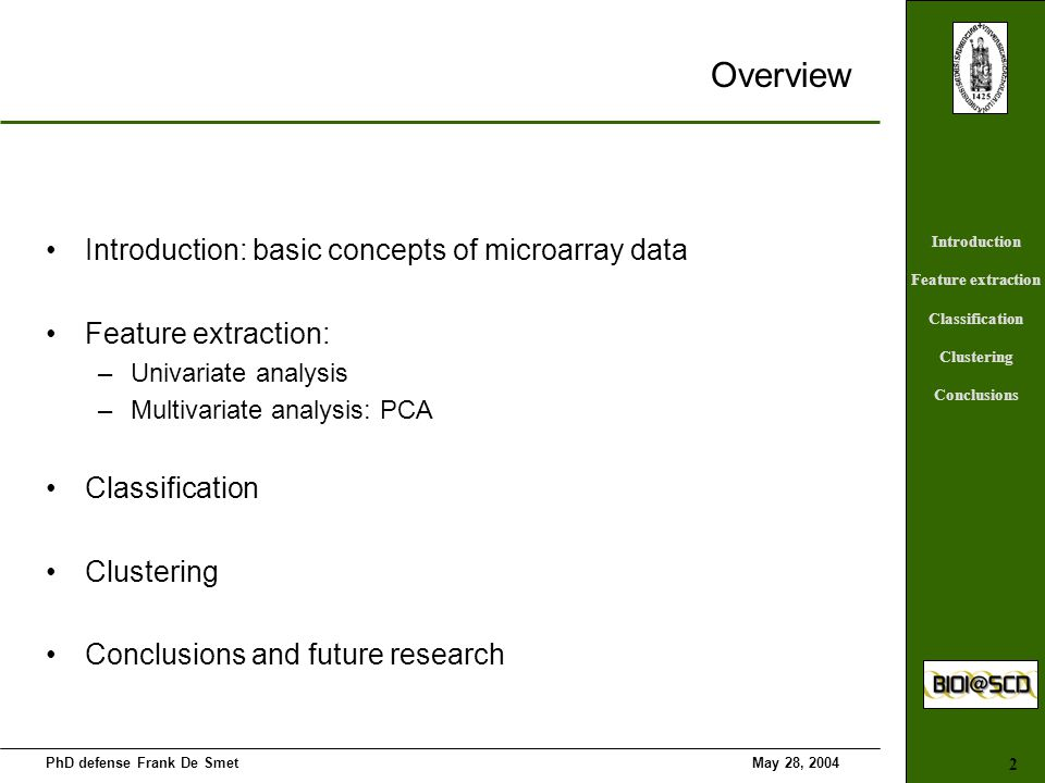 Microarrays: algorithms for knowledge discovery in oncology and