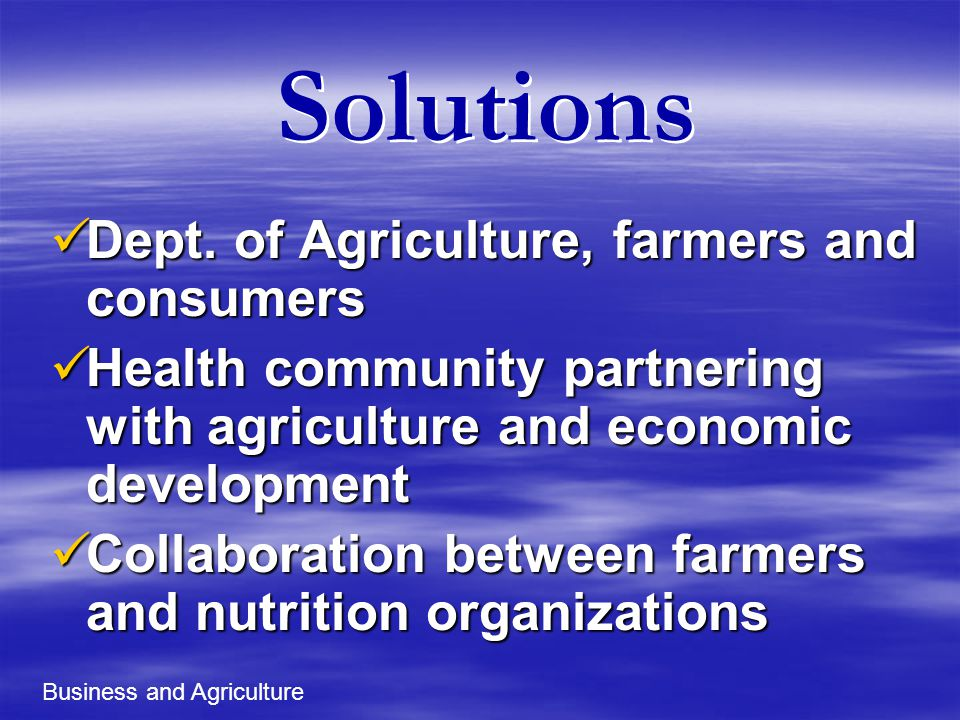 Solutions Dept. of Agriculture, farmers and consumers Dept.