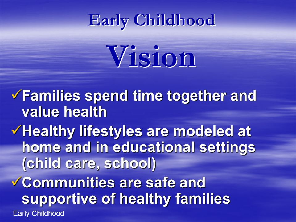 Early Childhood Vision Families spend time together and value health Families spend time together and value health Healthy lifestyles are modeled at home and in educational settings (child care, school) Healthy lifestyles are modeled at home and in educational settings (child care, school) Communities are safe and supportive of healthy families Communities are safe and supportive of healthy families Early Childhood