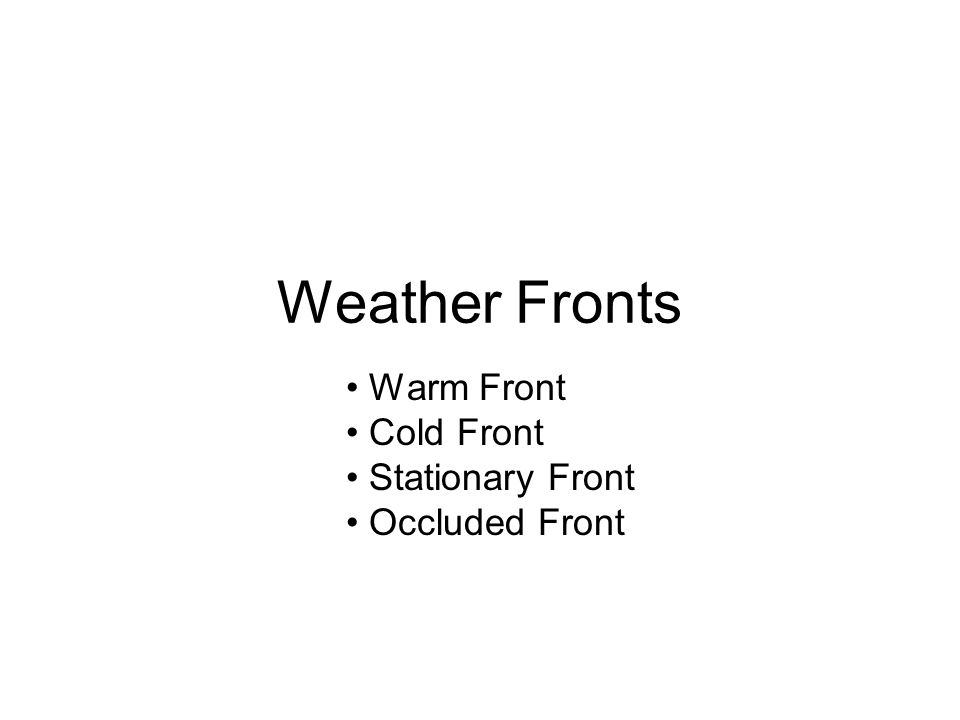 Weather Fronts Warm Front Cold Front Stationary Front Occluded Front