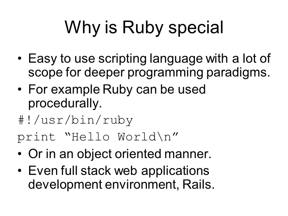 The Ruby Programming Language with Ruby on Rails web