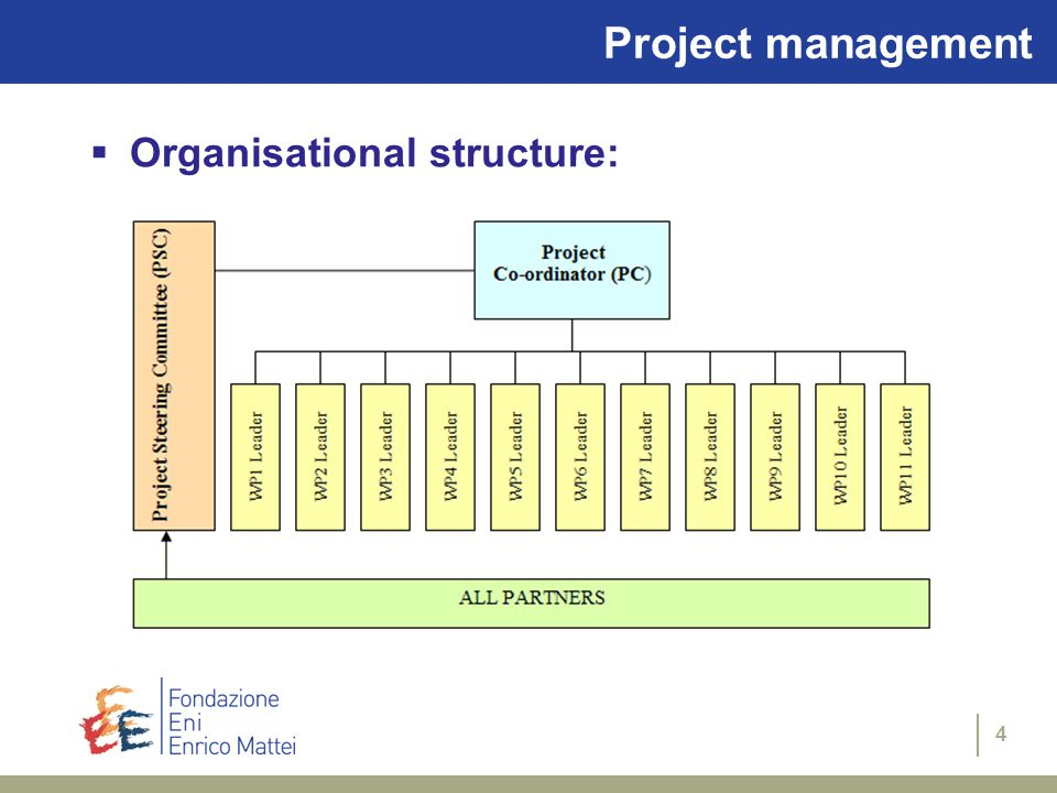 4 Project management  Organisational structure: