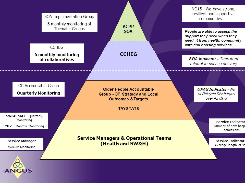 ACPP SOA CCHEG Older People Accountable Group - OP Strategy and Local Outcomes &Targets TAYSTATS Service Managers & Operational Teams (Health and SW&H) NO15 - We have strong, resilient and supportive communities ….