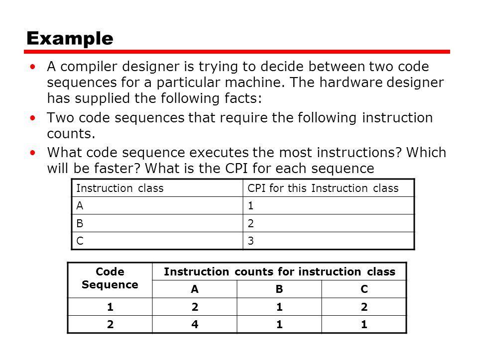 Example A compiler designer is trying to decide between two code sequences for a particular machine.