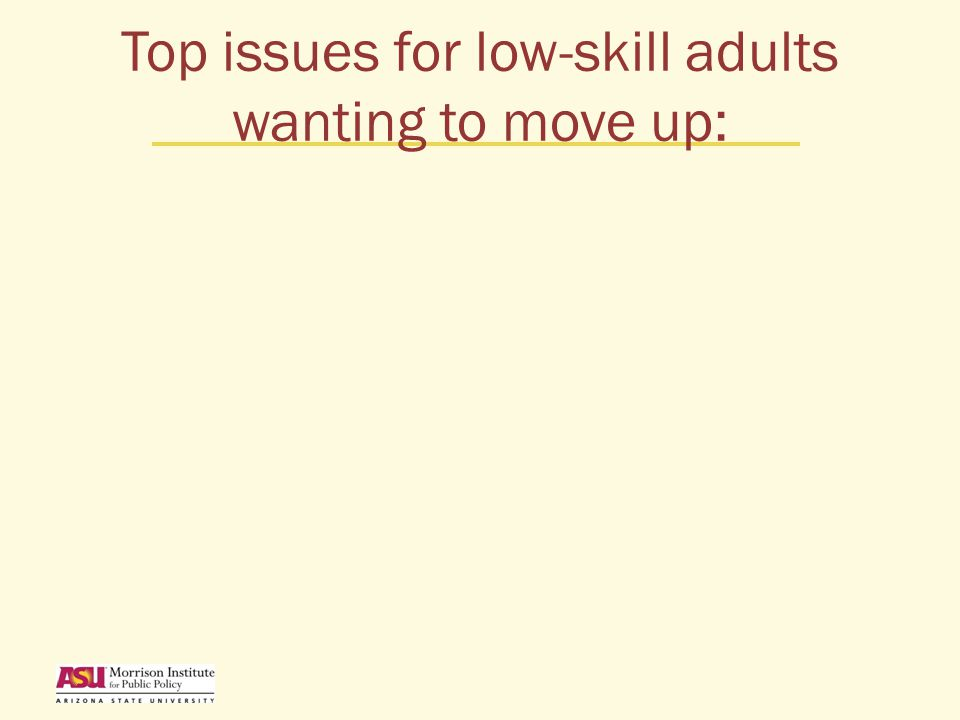 Top issues for low-skill adults wanting to move up: