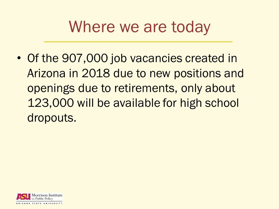 Where we are today Of the 907,000 job vacancies created in Arizona in 2018 due to new positions and openings due to retirements, only about 123,000 will be available for high school dropouts.