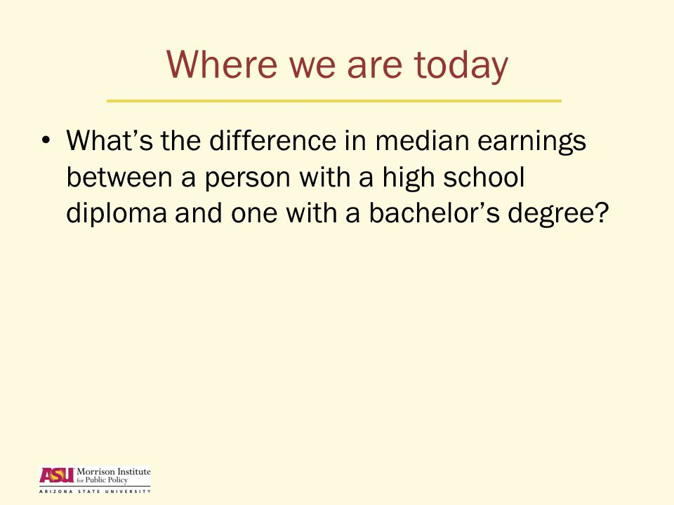 Where we are today What's the difference in median earnings between a person with a high school diploma and one with a bachelor's degree