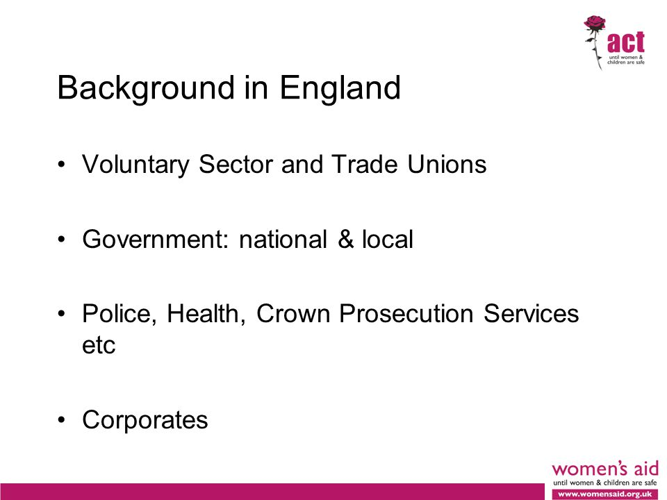 Background in England Voluntary Sector and Trade Unions Government: national & local Police, Health, Crown Prosecution Services etc Corporates