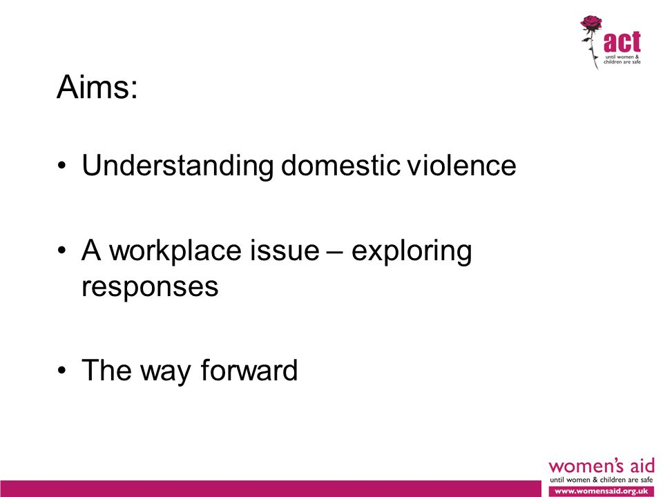 Aims: Understanding domestic violence A workplace issue – exploring responses The way forward