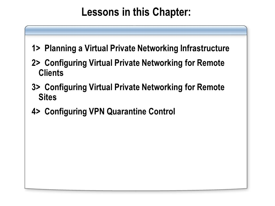 Lessons in this Chapter: 1> Planning a Virtual Private Networking Infrastructure 2> Configuring Virtual Private Networking for Remote Clients 3> Configuring Virtual Private Networking for Remote Sites 4> Configuring VPN Quarantine Control