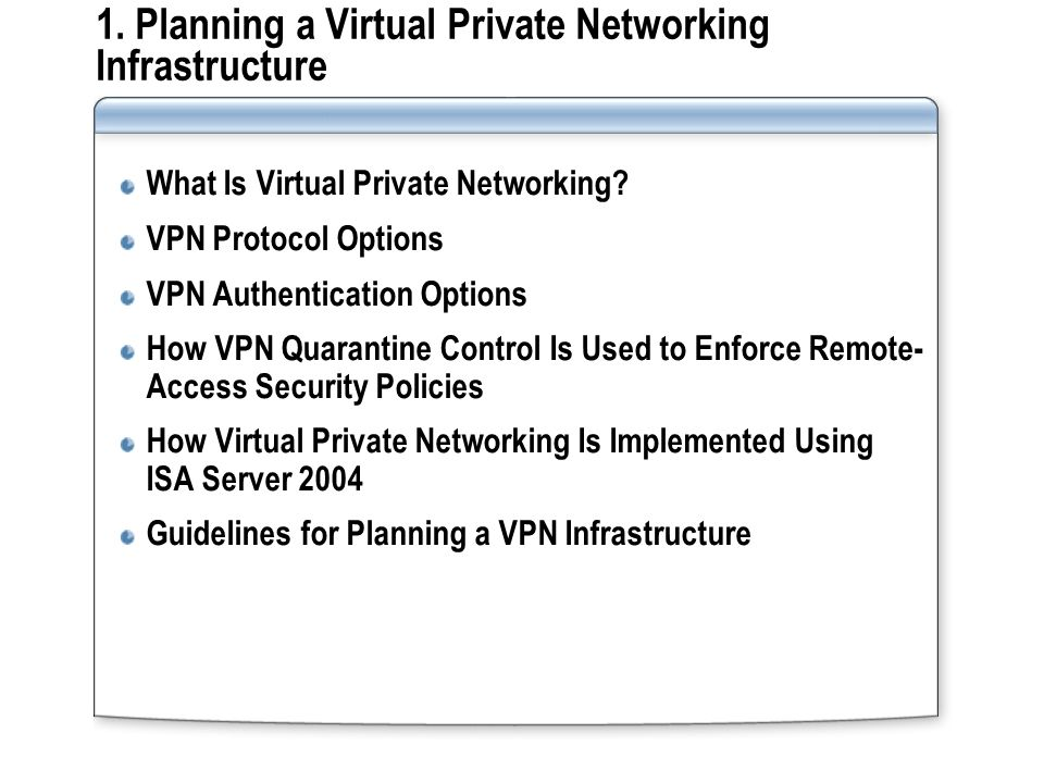 1. Planning a Virtual Private Networking Infrastructure What Is Virtual Private Networking.