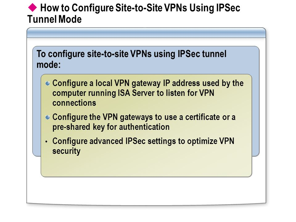  How to Configure Site-to-Site VPNs Using IPSec Tunnel Mode To configure site-to-site VPNs using IPSec tunnel mode: Configure a local VPN gateway IP address used by the computer running ISA Server to listen for VPN connections Configure the VPN gateways to use a certificate or a pre-shared key for authentication Configure advanced IPSec settings to optimize VPN security Configure a local VPN gateway IP address used by the computer running ISA Server to listen for VPN connections Configure the VPN gateways to use a certificate or a pre-shared key for authentication Configure advanced IPSec settings to optimize VPN security