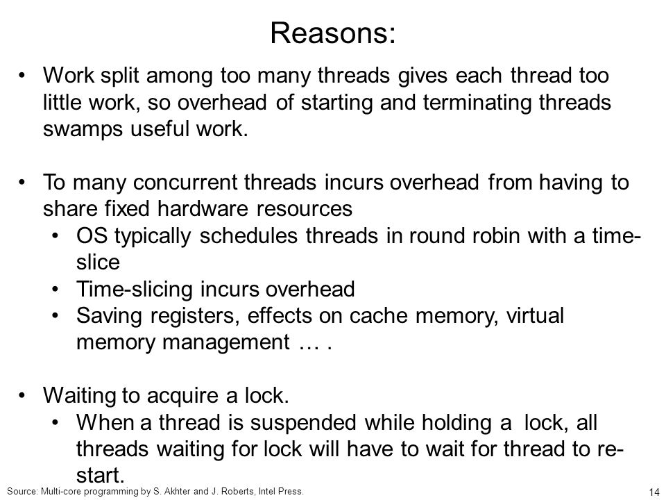14 Reasons: Work split among too many threads gives each thread too little work, so overhead of starting and terminating threads swamps useful work.
