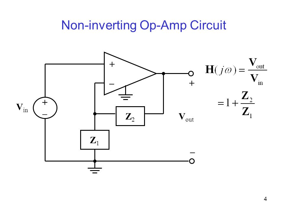 4 Non-inverting Op-Amp Circuit + –+ – V in +–+– V out Z1Z1 Z2Z2
