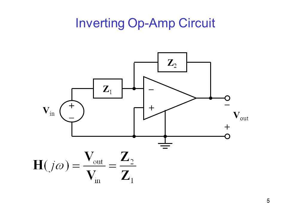 5 Inverting Op-Amp Circuit – + V in +–+– + – V out Z2Z2 Z1Z1