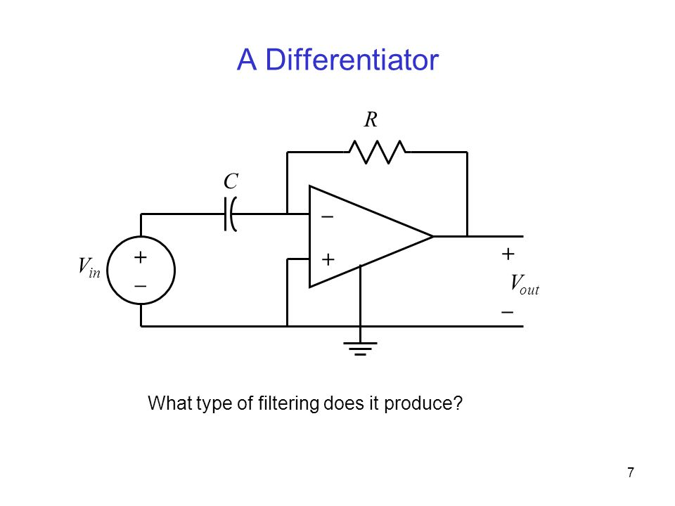 7 A Differentiator – + V in + – V out C R +–+– What type of filtering does it produce