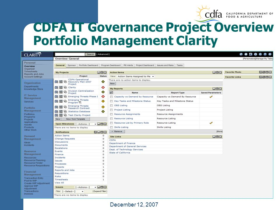 December 12, 2007 CDFA IT Governance Project Overview Portfolio Management Clarity