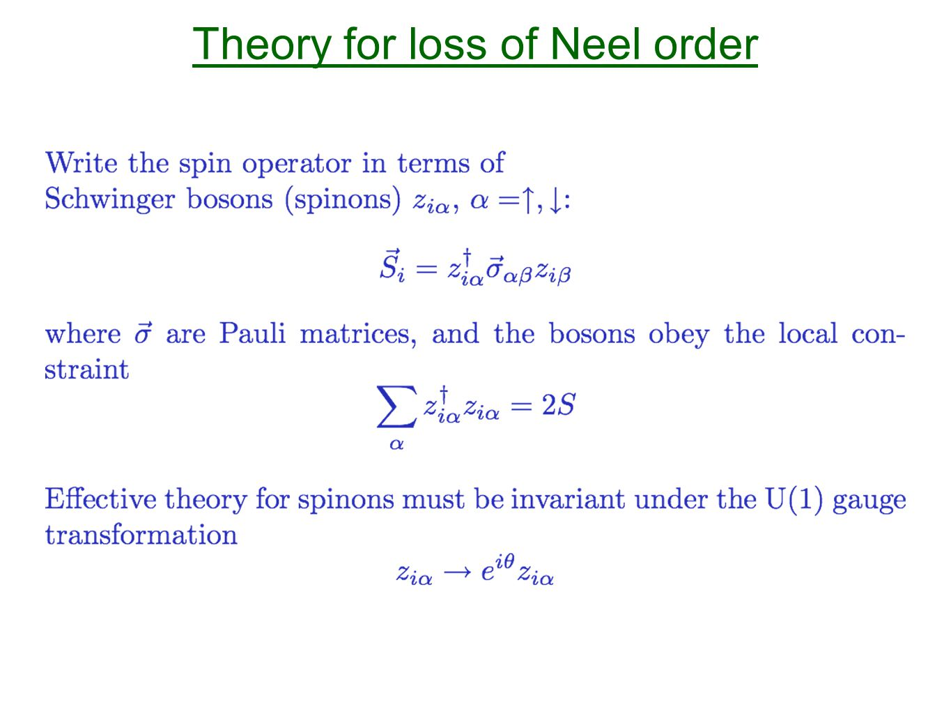 Theory for loss of Neel order