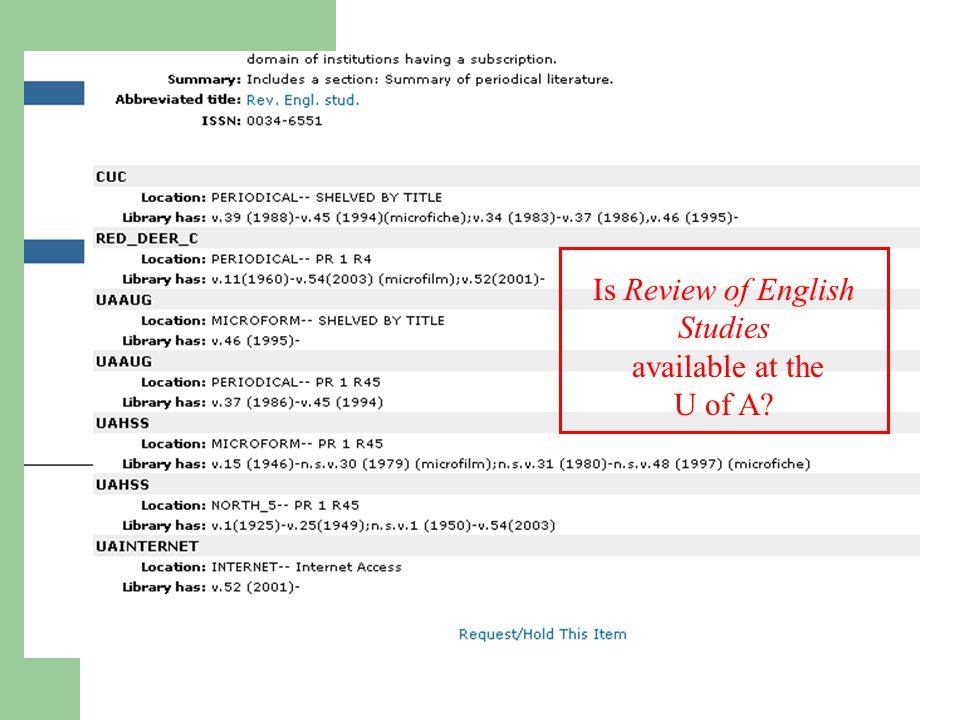 Is Review of English Studies available at the U of A