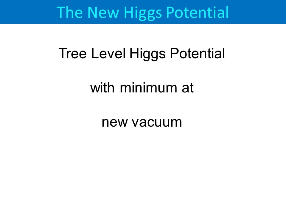 The New Higgs Potential Tree Level Higgs Potential with minimum at new vacuum