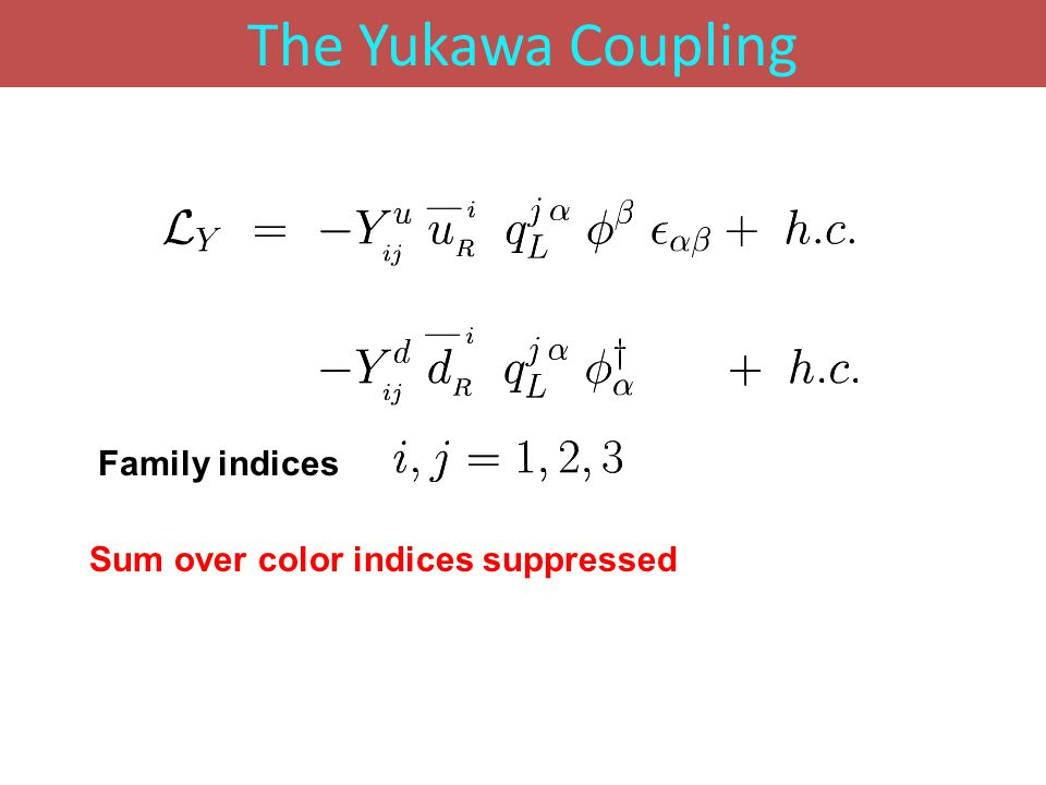 The Yukawa Coupling Sum over color indices suppressed Family indices