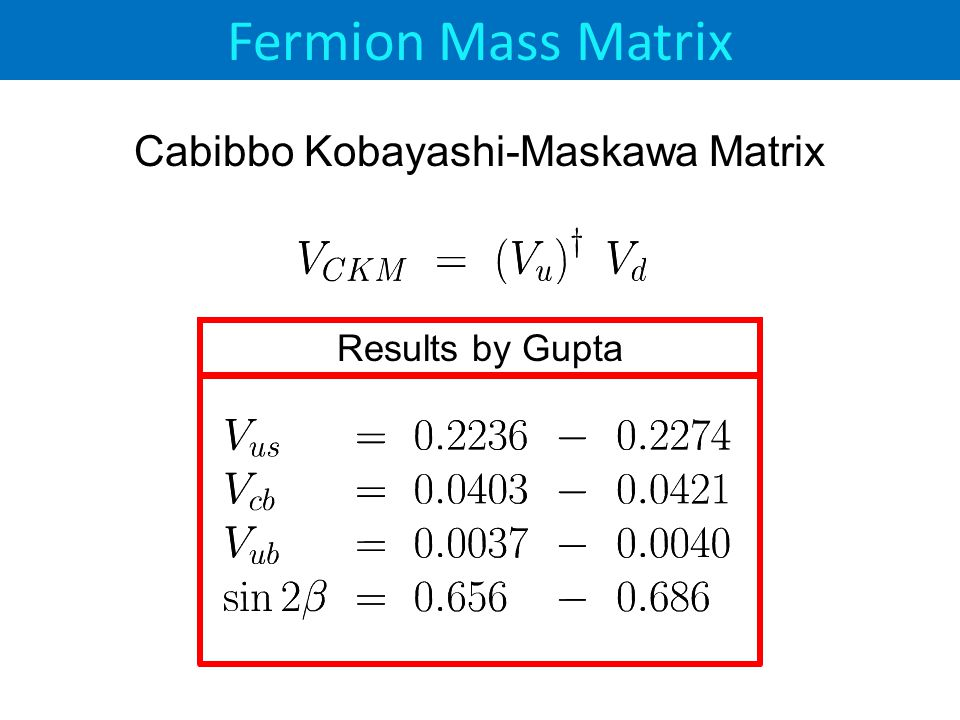 Cabibbo Kobayashi-Maskawa Matrix Results by Gupta