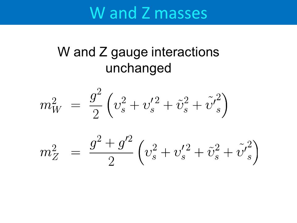 W and Z masses W and Z gauge interactions unchanged