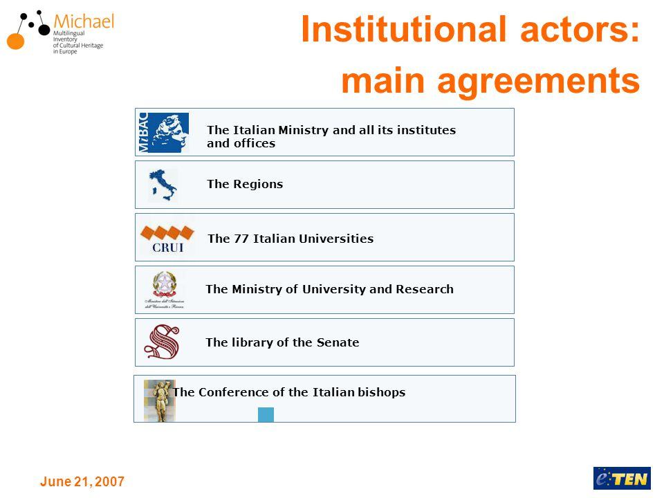June 21, 2007 Institutional actors: main agreements The Regions The Italian Ministry and all its institutes and offices The 77 Italian Universities The Ministry of University and Research The library of the Senate The Conference of the Italian bishops
