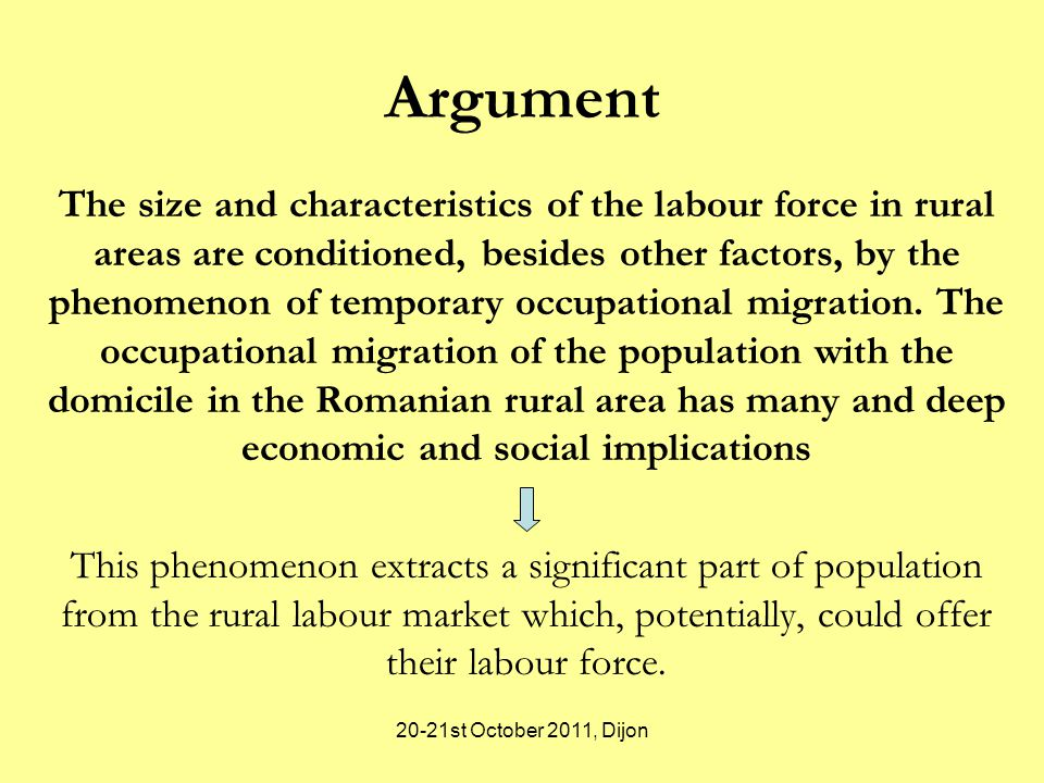 20-21st October 2011, Dijon Argument The size and characteristics of the labour force in rural areas are conditioned, besides other factors, by the phenomenon of temporary occupational migration.