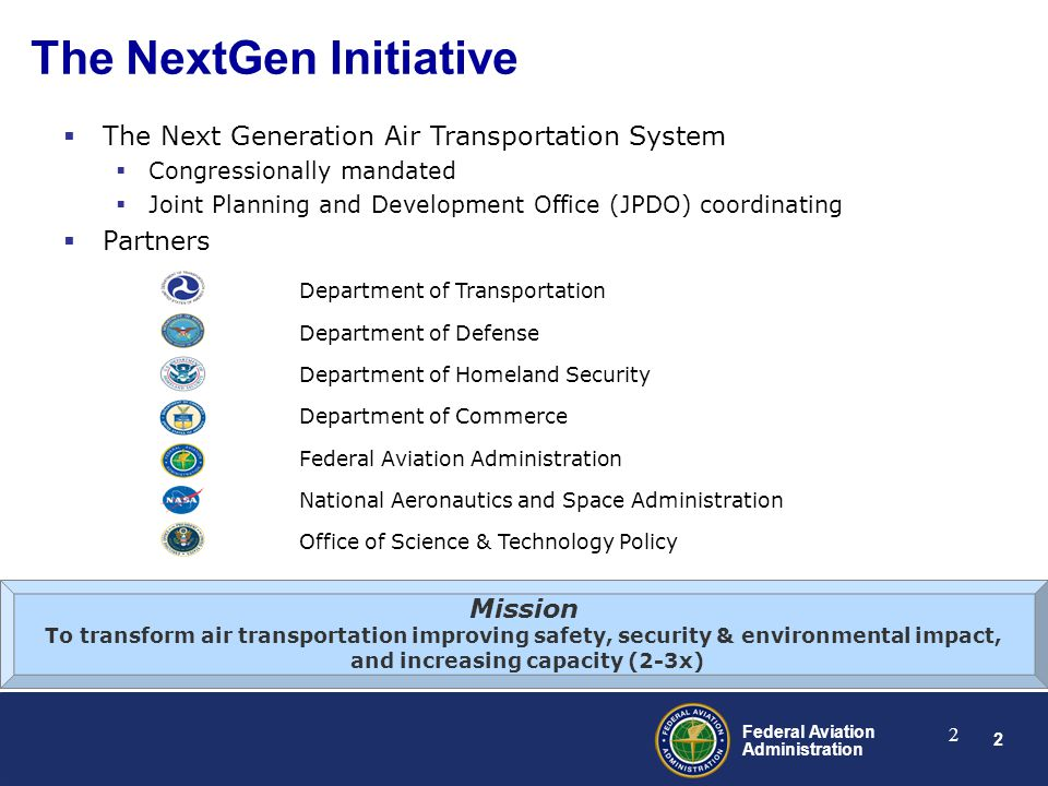 2 Federal Aviation Administration 2 The NextGen Initiative Office of Science & Technology Policy National Aeronautics and Space Administration Federal Aviation Administration Department of Commerce Department of Homeland Security Department of Defense Department of Transportation  The Next Generation Air Transportation System  Congressionally mandated  Joint Planning and Development Office (JPDO) coordinating  Partners Mission To transform air transportation improving safety, security & environmental impact, and increasing capacity (2-3x)