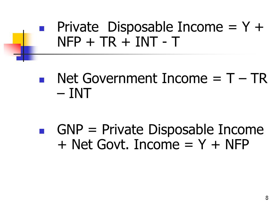 8 Private Disposable Income = Y + NFP + TR + INT - T Net Government Income = T – TR – INT GNP = Private Disposable Income + Net Govt.