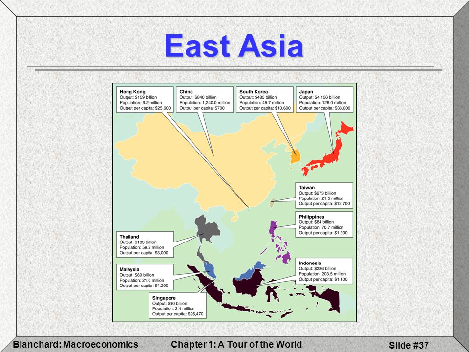 Chapter 1: A Tour of the WorldBlanchard: Macroeconomics Slide #37 East Asia
