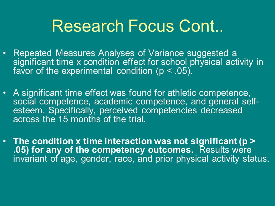 Research Focus Cont..