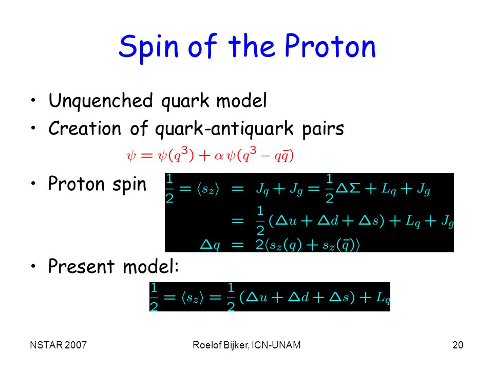 NSTAR 2007Roelof Bijker, ICN-UNAM20 Spin of the Proton Unquenched quark model Creation of quark-antiquark pairs Proton spin Present model: