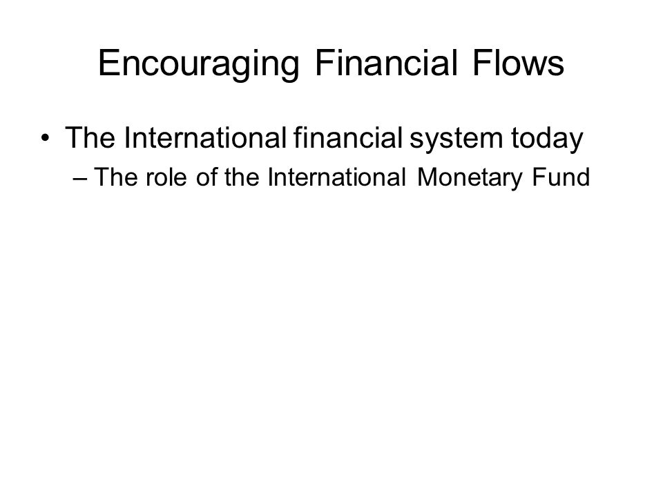 Encouraging Financial Flows The International financial system today –The role of the International Monetary Fund