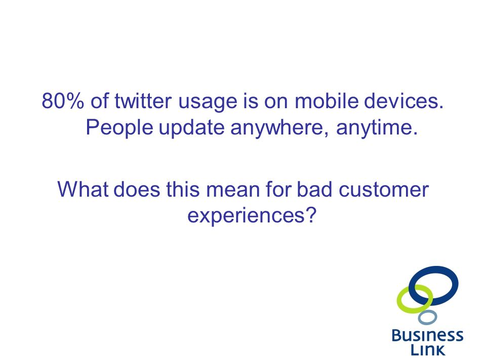 80% of twitter usage is on mobile devices. People update anywhere, anytime.